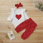 Newborn Baby Girls Clothes Polka Dot Romper Bodysuit+Pants Headband Outfits Sets