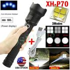 USA 350000 Lumens Zoom XHP70 LED USB Rechargeable Flashlight Torch Super Bright