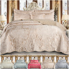 Satin Jacquard Quilted Bedspread Throw 3 Piece Bedding Set Double & King Size