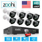 Zoohi Home 1080P CCTV Security Camera System Outdoor 4/8CH 1/2TB Hard Drive HDMI