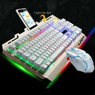Rainbow Gaming Keyboard and Mouse Set Multi-Colored Changing Backlight Mouse USA