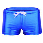 US _ Sexy Men's Patent Leather Drawstring Boxer Shorts Trunks Swimwear Underwear