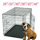 20in -48in Dog Cage Puppy Pet Training Carrier Folding Metal Crate w/ Divider