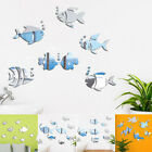 3d Mirror Lucky Fish Wall Sticker Square Self Adhesive Stick On Art Home Decor