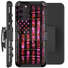 Holster Case For Galaxy Note20 / Note20 Ultra 5G Phone Cover - PINK CAMO US FLAG