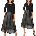 Womens Eyelet Mesh Keyhole Pockets Belted Pleated Casual Party A-Line Midi Dress