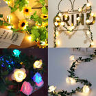 10/20/40 Leds Rose Flower Led Fairy String Lights Battery Powered Garland Decor