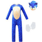 Kids Cosplay Sonic The Hedgehog Boy Jumpsuit+Mask+Gloves Costume Fancy Dress Set