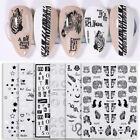 3D Nail Stickers Leopard Letter Transfer Decals Black White Nail Art Decoration