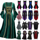 Womens Vintage Gothic Punk Lace Up Victorian Medieval Witch Fancy Dress Cosplay