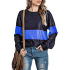 Women Long Sleeve Wide Stripe Pullover Sweatshirt Loose Casual Jumper Top Blouse