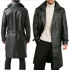 Mens PU Leather Punk Trench Coat Long Sleeve Motorcycle Biker Wet Look Outwear