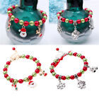 Women Girls Christmas Santa Claus Elf Beads Bangle Bracelet Jewelry Kids Gift Gd