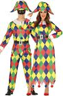 Couples Matching Ladies & Mens Harlequin Jester Carnival Fancy Dress Costumes