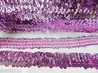 1 Metre of 30MM wide 3 ROW ELASTIC STRETCH SEQUIN TRIM : PINK