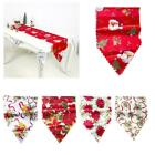 Christmas Table Runner Red Floral Bell Santa Berry Print Tablecloth Party Decor