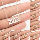 Women Girls Necklace Birth Year Number Pendant Stainless Steel Jewelry Gift Uk