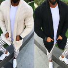 Mens Winter Warm Knitted Sweater Long Sleeve Cardigan Trench Coat Outwear Jumper