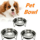 Dog Pet Feeder Bowl Stainless Steel Food Water Feeding Station Bowls Stand