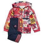 adidas ESSENTIALS INFANTS SHINY HOODED JOGGER TRACKSUIT REAL PINK BABIES GIRLS