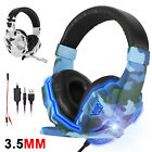 Gaming Headset Stereo Bass Surround 3.5mm headphone with Mic for PS5/Xbox One/PC