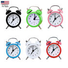 Mini Round Alloy Alarm Clock Desktop Table Bedside Clocks Travel Clock Decor
