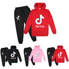 2Pcs Kids Boys Girls Tik Tok Sweatshirt Hoodies Tops Pants Pullover Suit Set