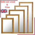 Mirror Wall Hanging Solid Oak Wood Frame Retro Dress Mirror Home Decor Rectangle