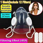 1x Transparent Face Cover With 12x Filter Pad Breathable Anti-haze Mouth Shield