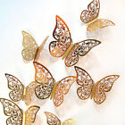12pcs 3d Butterfly Hollow Wall Stickers Art Decals Home Room Decorations Decbhf