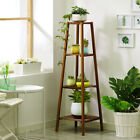 Dark Brown Bamboo Tall Plant Stand Pot Holder Table Ladder Flower Display Rack