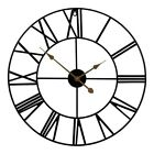 Large Wall Clock Roman Numerals Skeleton Open Face Round Clock Non-ticking 40cm