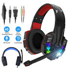 Gaming Headset Mic Adjustable LED Headphone Surround Sound for PS4/Xbox ONE/PC