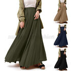 Women Casual Party Holiday Maxi Pleated Skirt Asymmetrical Long Swing Dress Plus