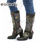 SOCOFY Women Elegant Leather Mid-calf Boots Cloth Splicing Chunky Shoes Bloc
