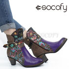 SOCOFY Womens Vintage Leather Chunky Combat Short Boots Ladies Buckle Shoes Zi