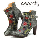 SOCOFY Womens Retro Style Floral Heeled Ankle Boots Ladies Block Shoes Embosse