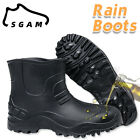 Men Waterproof Rain Boots Non-slip Ankle Shoes Slip-On Casual Flat Muck Mud Boot