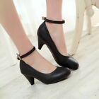 Women's faux Leather Round Toe Ankle Strap Shoes High Heel Mary Janes