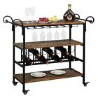Modern 3 Tiers Kitchen Dining Bar Trolley Serving Carts Wine Cup Rack Storage