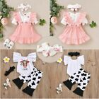 Baby Girls Outfit Birthday Floral Romper Tops Suspender Skirts Set Infant Party
