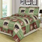 Log Cabin Bear Quilt Set Country Rustic Lodge Cottage Bedspread Full/Queen
