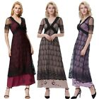 Dress S-xl Victorian Retro Vintage Lace Party Edwardian V-neck Long Style Poque