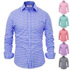 Fashion Check Casual Sleeve Men's Shirts Fit Luxury Button Long Mens Tops Slim