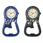 Clip-On Belt Fob Watch with Bottle Opener Carabiner Luminous for Outdoor Hiking