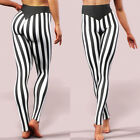 Womens Sexy High Waist Striped Leggings Stretchy Sports Gym Long Pants Trousers