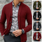 Mens Winter Long Sleeve Cardigan Single Breasted Knitted Sweater Coat Outwear