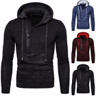 Mens Winter Warm Hooded Sweater Long Sleeve Knitted Pullover Jacket Overcoat Top