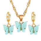 3pcs Acrylic Butterfly Necklace Hook Earrings Pendants Women Jewelry Set