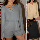 2 PCS Womens V Neck Long Sleeve Pyjamas Set Loose Sleepwear Pjs Loungewear Suits